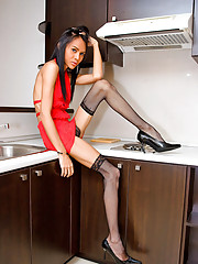 Randy ladyboy cooking a hotdog with her royal-buns