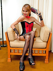 Shemale mistress in a frilled basque and fishnets