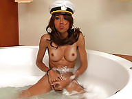 Cute shemale putting a show clad in sailor uniform