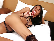 Lusty ladyboy getting off with her thick butt plug