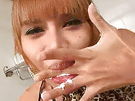 Smeared in cream ladyboy looking for a sweet tooth
