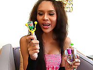 Sweet loving t-girl gets hard playing with candies
