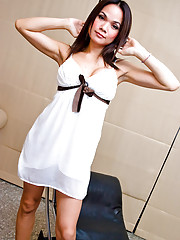 Lovely ladyboy Beer in a white gown and red undies