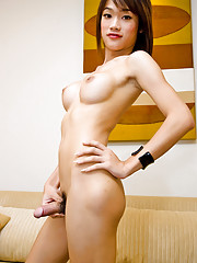 Asian t-girl Bee taking fun from fondling her body