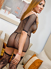 Hot t-girl Valencia in a net dress and lacy nylons
