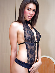 Shemale dreamboat Aoi peels off her hot lacy teddy