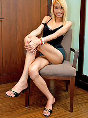 Blonde shemale bombshell Aoum in her skimpy attire