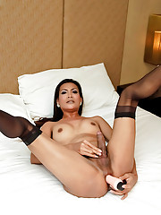 Horny Asian ladyboy gets nasty with vibrator