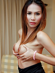 Watch long legged ladyboy polish her pole