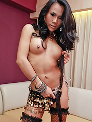 See exotic ladyboy unload her shemale spunk