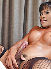 Tough and taught hung ladyboy beats meat