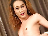 Lewd ladyboy Judy produces a massive amount of cum