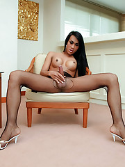 Watch nmpho ladyboy wank in bodystocking
