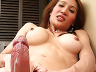 Lean ladyboy wanking freak shoots her load