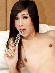 Horny ladyboy toy fucks her own ass