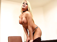 Shemale pole dancer Pamela starts with striptease
