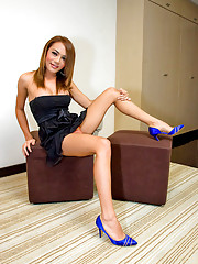 Smart ladyboy Monic posing in a little black dress