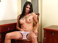 Leggy ladyboy Monic beats her meat for a nice load