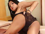 Horny ladyboy Nadia lets out a strong spurt of cum