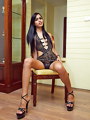 Sexy ladyboy Karn parts legs for a wanking session