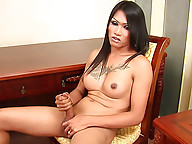 Well hung t-girl Mena tugging at her big meaty rod