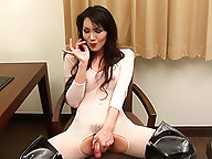 Dick-girl Angel works her divine rear and gets off