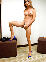 Sexy tranny Monic flashes curves and her erect rod