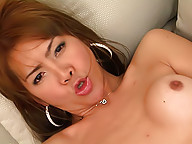 Asian shemale Lusi using old tricks for a cumshot
