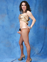 Gorgeous brunette tgirl Selina posing and stripping