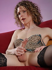 Amazing transsexual Delia posing in sexy stockings