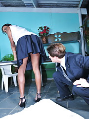 Horny ebony TS Kamily fucking Eduardo in her office
