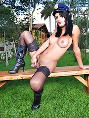 Hot TS officer Dayane Oliveira stripping outdoors