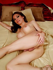 Sweet tgirl Brooke posing her yummy dick and tits