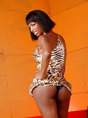 TS chocolate goddess Natassia Dream stripping