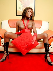 Super hot ebony TS Amyiaa Starr teasing