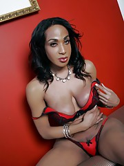 Busty ebony transsexual posing her juicy tits and ass