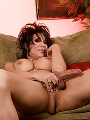Naughty transsexual showing her enormous cock