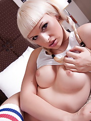 Super hot Bailey Jay posing her fat hard cock on bed