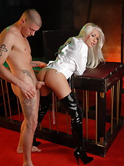 Restrained TS Mia Isabella getting her tight ass fucked