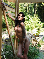 Tempting TS Morgan Bailey posing outdoors