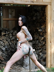 Transsexual hottie Morgan Bailey chopping wood