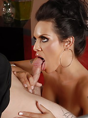 Glamorous tgirl taking a cock down her throat