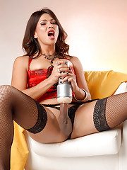 Horny transsexual Vaniity fucking her fleshlight