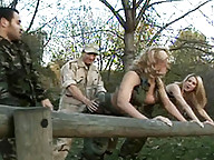 Two horny transsexuals getting banged by two studs from the army
