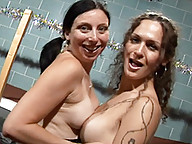 Transsexual Nikki having hardcore fun with a woman