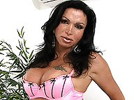 Brunette transsexual hottie Monica playing with herself