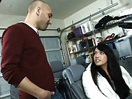 Beautiful transsexual Jessica blowing the mechanic
