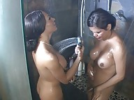 Naughty Carmen Moore taking a shower with Mia Isabella