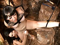 Naughty Mandy Mitchell dominating tied up Sparky