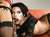 Naughty tgirl Foxxy getting her mouth & ass fucked by Vaniity